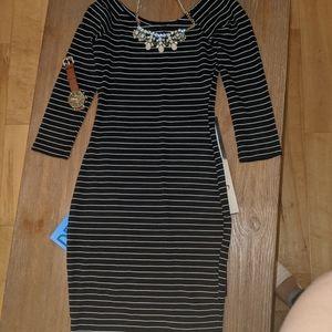 Zara striped midi Bodycon dress